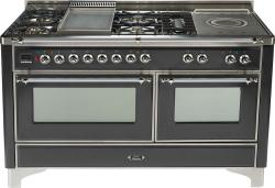 Brand: Ilve, Model: UM150FSDMPM, Color: Matte Graphite with Chrome Trim