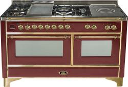 Brand: Ilve, Model: UM150FSDMPM, Color: Burgundy with Brass Trim