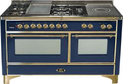 Brand: Ilve, Model: UM150FSDMPM, Color: Midnight Blue with Brass Trim