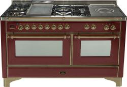 Brand: Ilve, Model: UM150FSDMPM, Color: Burgundy with Oiled Bronze Trim