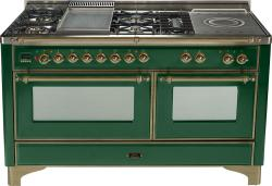 Brand: Ilve, Model: UM150FSDMPM, Color: Emerald Green with Oiled Bronze Trim