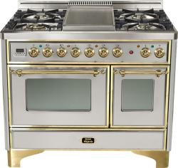 Brand: Ilve, Model: UMD100FDMPI, Color: Stainless Steel with Brass Trim