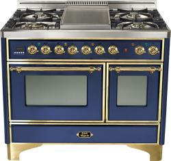 Brand: Ilve, Model: UMD100FDMPRB, Color: Midnight Blue with Brass Trim