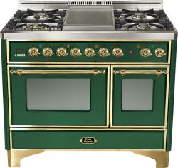 Brand: Ilve, Model: UMD100FDMPI, Color: Emerald Green with Brass Trim
