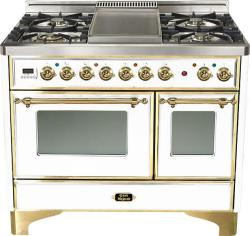 Brand: Ilve, Model: UMD100FDMPRB, Color: True White with Brass Trim