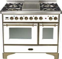 Brand: Ilve, Model: UMD100FDMPRB, Color: True White with Oiled Bronze Trim