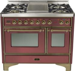 Brand: Ilve, Model: UMD100FDMPRB, Color: Burgundy with Oiled Bronze Trim
