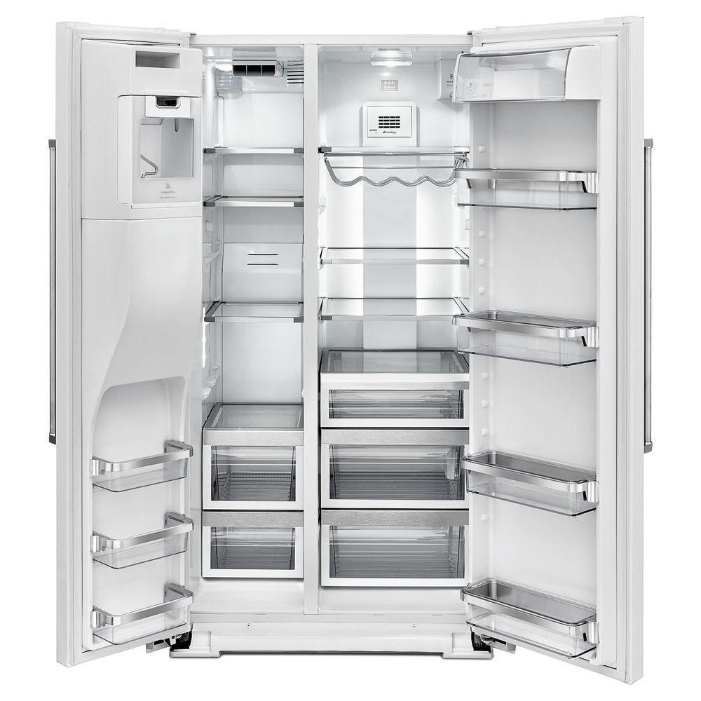 Shop Kitchenaid 24 8 Cu Ft Side By Side Refrigerator With: Kitchenaid Krsf505ebl