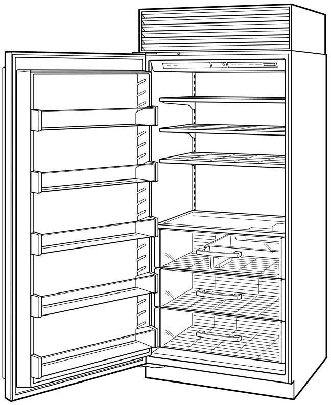 Sub Zero 36 Inch Built-in All-Freezer with 3 Adjustable