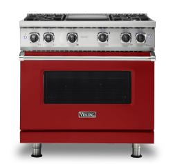 Brand: Viking, Model: VGR5364GWH, Fuel Type: Apple Red, Natural Gas