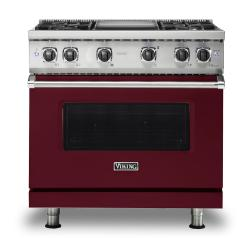 Brand: Viking, Model: VGR5364GWH, Fuel Type: Burgundy, Natural Gas