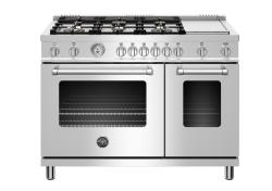 Brand: Bertazzoni, Model: MAST486GGASBIE, Color: Stainless Steel - Liquid Propane Brass Burners