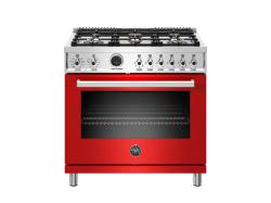 Brand: Bertazzoni, Model: PROF366DFSROTLP, Color: Red, Natural Gas