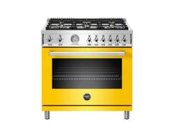 Brand: Bertazzoni, Model: PROF366GASNET, Color: Yellow, Natural Gas