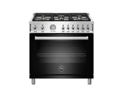 Brand: Bertazzoni, Model: PROF366GASNET, Color: Black, Natural Gas