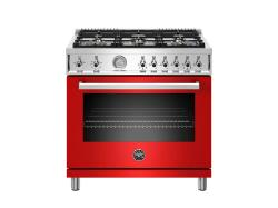 Brand: Bertazzoni, Model: PROF366GASROT, Color: Red, Natural Gas