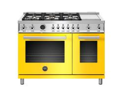 Brand: Bertazzoni, Model: PROF486GDFSROT, Color: Yellow, Natural Gas