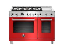 Brand: Bertazzoni, Model: PROF486GDFSROT, Color: Red, Natural Gas