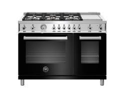 Brand: Bertazzoni, Model: PROF486GGASXTLP, Color: Black, Natural Gas