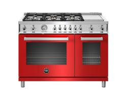 Brand: Bertazzoni, Model: PROF486GGASXTLP, Color: Red, Natural Gas