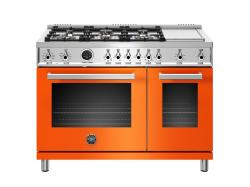 Brand: Bertazzoni, Model: PROF486GDFSROT, Color: Orange, Natural Gas