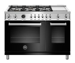 Brand: Bertazzoni, Model: PROF486GDFSNETLP, Color: Black, Liquid Propane