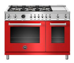 Brand: Bertazzoni, Model: PROF486GDFSNETLP, Color: Red, Liquid Propane