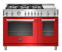 Brand: Bertazzoni, Model: PROF486GGASBIT, Color: Red, Liquid Propane