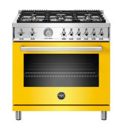 Brand: Bertazzoni, Model: PROF366GASXTLP, Color: Yellow, Liquid Propane