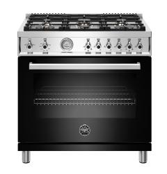 Brand: Bertazzoni, Model: PROF366GASXTLP, Color: Black, Liquid Propane