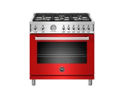 Brand: Bertazzoni, Model: PROF366GASNET, Color: Red, Liquid Propane