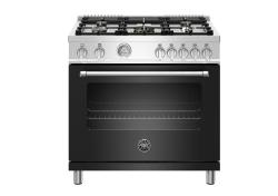 Brand: Bertazzoni, Model: MAST365GASNEE, Color: Black, Natural Gas
