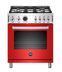 Brand: Bertazzoni, Model: PROF304DFSART, Color: Red, Natural Gas
