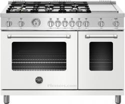 Brand: Bertazzoni, Model: MAST486GGASXE, Color: Matte White, Natural Gas