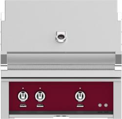 Brand: Hestan, Model: GMBR30NGBG, Color: Liquid Propane, Tin Roof Burgundy