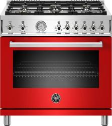 Brand: Bertazzoni, Model: PROF366GASXTLP, Color: Rosso Red