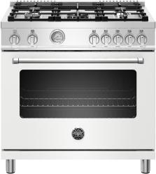 Brand: Bertazzoni, Model: MAST365GASXE, Color: Matte White, Natural Gas