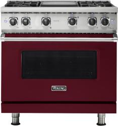 Brand: Viking, Model: VGR5364GAR, Fuel Type: Burgundy with Liquid Propane